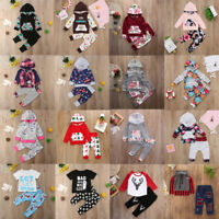 Newborn Baby Boy Girl Clothes Hooded Tops+Long Pants Leggings 2pcs Outfits Lot