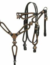 Showman BLACK Leather Bridle & Breast Collar Set w/ Copper Studs & Conchos! NEW!