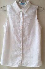 J. Mc Laughlin Size 2 XS White Sleeveless Button Textured Cotton Shirt