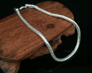 925 Sterling Silver plated Snake Link Chain Charm Bracelet Anklet Rope Ladies