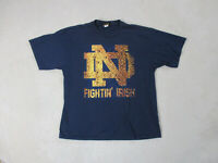 VINTAGE Notre Dame Fighting Irish Shirt Adult 2XL XXL Blue Yellow Football Mens