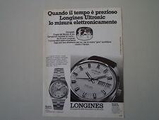 advertising Pubblicità 1974 OROLOGIO LONGINES ULTRONIC