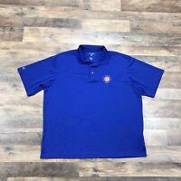 Chicago Cubs Polo Shirt MLB Baseball Adult Men's XL Polyester Golf Collar Blue