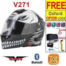 Vcan V271 Bluetooth 5 Flip Up Motorcycle Helmet Hollow Skull + Oxford Disc Lock