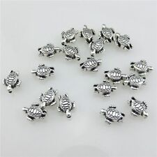 20976 80pcs Vintage Silver Alloy 9mm Sea Turtle Spacer Beads for Bracelet Making