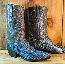 LUCCHESE Head Cut Hornback Crocodile Size 10.5 D Exotic Western Cowboy Boots