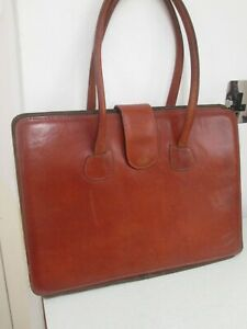 Vintage tan leather briefcase/document  bag by Toni Min made in Spain