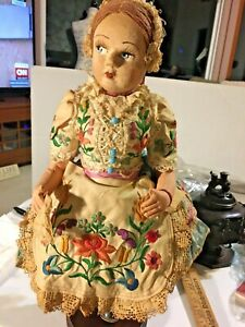 Antique Cloth Doll Original Clothing Hat Shoes Stand Lenci Embroidery SKU050-002