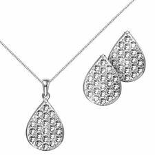 Conjunto Collar Pendientes de Mujer de Plata 925 y Pedrería Cadena con Colgante