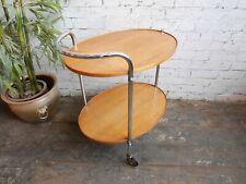 Vintage 60s 70s Retro Mid Century Modern Oak & Chrome Side Table Drinks Trolley