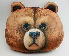 3D Print Brown Bear Head Pillow Large Adorable Very Soft Novelty Room Decoration