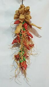 Vintage Red Hot Chili Peppers Wall Hanging Restaurant Kitchen Home Decor Rafia