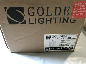 Golden Lighting 9174-wsc Gb  Sconce with Amber Alb