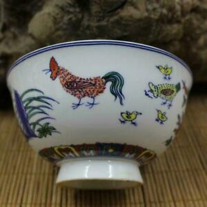 Chinese Doucai Porcelain Ming Chenghua Pearl Glaze Chicken Bowl Cup 4.72 inch