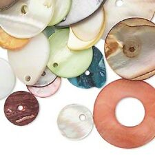 D4514CL Bead Mix Chinese Mussel Shell Flat Round Oval Button Mixed Colors, 1 oz