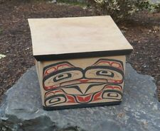 Ron Alphonse (Kwakwakwak) Native Polychrome Bentwood Box W/ Native Animal Design