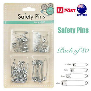 80 Safety Pins Pack Silver Pin Small Large Mixed Sizes Sewing Home Office Craft
