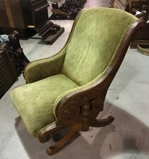 VINTAGE Amazing ORIGINAL Walnut Victorian CHAIR Lime Green Upholstery Wood Chair
