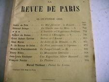 LA REVUE DE PARIS n° 20 - 1933 revue littéraire VAUDOYER BALZAC PORCHE etc