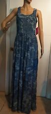 Betsey Johnson Blue Paisley Print Chiffon Maxi Racer Back Dress Sz 2 $128 NWT