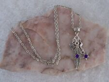 Tibetan Silver Feather & Star Purple Diamante,Silver Chain Necklace. Handmade