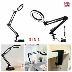 8XMagnifier Glass LED Desk Lamp Stand Clamp Beauty Magnifying Light Foldable New