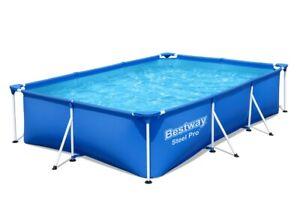 Stahlgestellpool 300 x 201 x 66 cm Eckig Blau Bestway Schwimmbecken Familiypool