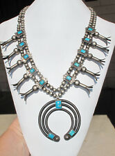 """Old Pawn Navajo Heavy Sterling Squash Blossom 24"""" Necklace~ DK Blue Turquoise"""