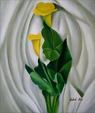 Quality Hand Painted Oil Painting, Still Life with Yellow Calla Lilies, 20x24in