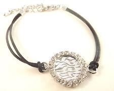 Shema Israel Judaica Bracelet  Kabbalah Jewelry Black Cord Silver Hebrew Pendant