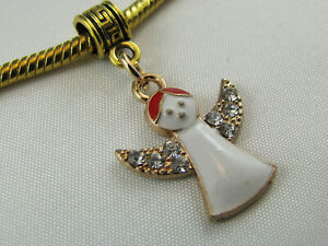 GP ANGEL DANGLE CHARM W/ CRYSTALS & ENAMEL FOR EURO STYLE CHARM BRACELETS #D-336