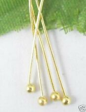 Free Ship 100pcs Golden plated copper solid ball head pin 50mm