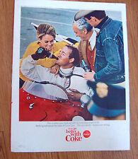 1965  Coke Coca-Cola Soda Ad   Auto Car Racing Track Theme