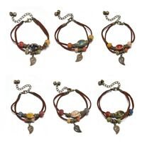 Boho Vintage Double Layer Rope Leather Leaf Beads Bracelet For Women Men Jewelry