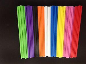 """50 x Coloured Plastic Lolly Lollipop Sticks 3.5"""" (89mm) Choose Your Colour"""