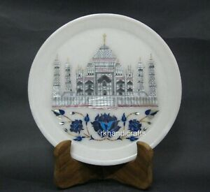 09 Inches Marble Corporate Gift Plate Gemstones Inlay Work Collectible Plate