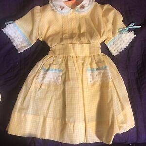 Easter girls VTG 50s Sheer Gingham Dress Dead Stock Marked Size 5 NWT tulle slip