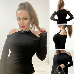 Hot Shirt schulterfrei mit silber Kette one size black Top one size gothik Shirt