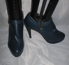 SPOT ON WOMENS  BLUE ZIP SYNTHETIC HIGH HEEL COURT SHOES Size:5/38(WHS50)