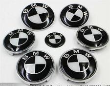 Set of 7 BMW Badges - Bonnet/Boot/Steering/Wheels - Black White