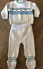 Vtg 1980's Infant Sweater And Footed Pants Acrylic Knit Set Blue Size 3 mos