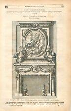 Cheminée Vase par Jean Lepautre  / Chapelle de la Chasse des Rois GRAVURE 1849