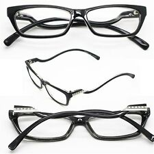 "Reading Glasses ""Italian Curve"" Wiggle Petite Polished BLACK Frame +2.00 Lens"