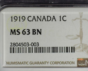 CANADA 1919 1¢ NGC MS 63 BN