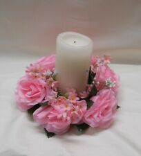 """2 Pink Silk Artificial Flower Candle Rings 3"""" Wedding Centerpiece Decorations"""