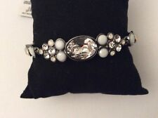 GIVENCHY White Frosted Clear Crystal Hematite-Tone Flex Bracelet $68 GB17