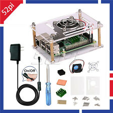 Raspberry Pi Acrylic Case Kit & Switch Power Supply & Cooling Fan & Heatsinks