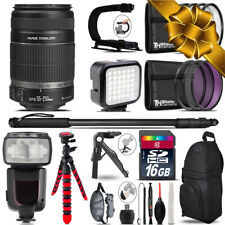 Canon EFS 55-250 IS II - Video Kit + Pro Flash + Monopad - 16GB Accessory Bundle