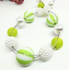 FRECHE Halskette grün weiss grosse Perlen Kette Streifen Glanz Polaris  50 cm