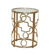 Beistelltisch Metalltisch Glastisch Tisch Couchtisch Farbe: Antik-Gold